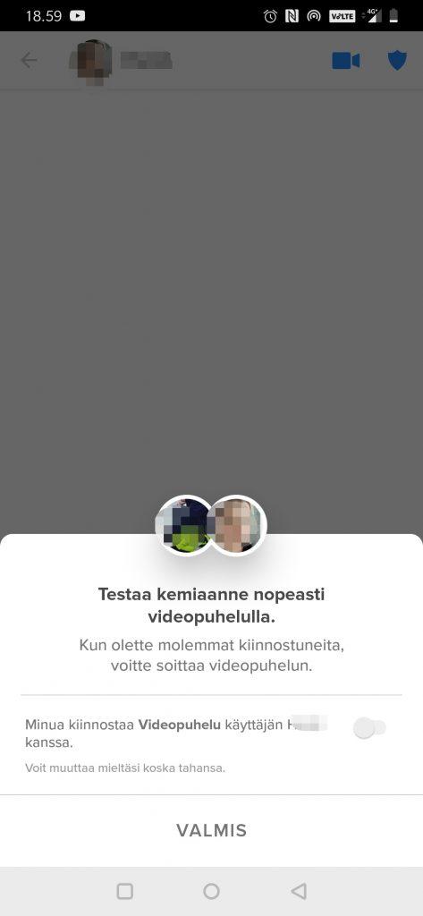 Tinder videopuhelu vaatii kummankin osapuolen suostumuksen tai halun.
